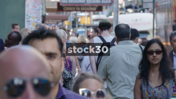 Very Busy New York Sidewalk With Pedestrians, USA