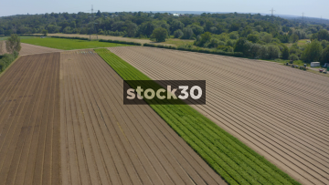 Orbiting Drone Shot Of Ploughed Fields On Farm, UK