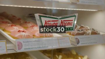 Krispy Kreme Doughnuts Cabinet, Various Shots, UK
