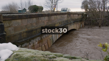 River Mersey Almost Flooding With Very High Water Level In Flixton, Manchester, UK