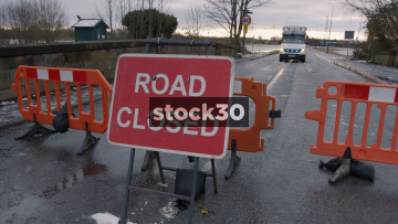 Road Closed Due To River Mersey Flooding, 3 Shots, Flixton, Manchester, UK