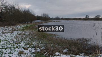 Flooded Fields By River Mersey In Flixton, Manchester, UK