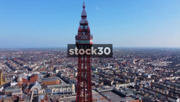 Drone Shot Descending Down Blackpool Tower, UK