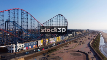 Drone Shot Of Blackpool Pleasure Beach Roller Coaster, UK