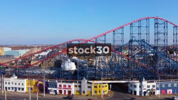 Ascending Drone Shot Of Blackpool Pleasure Beach, UK
