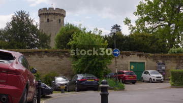 Outside The Walls Of Warwick Castle, Wide Shot And Close Up Of Turret, UK