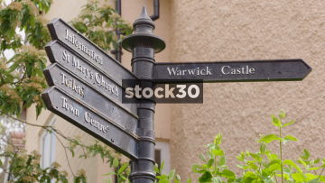 Tourist Directions Signs Near Warwick Castle, UK