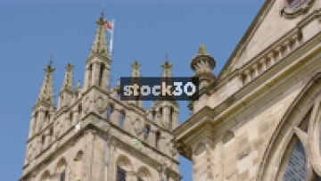 St Mary's Church In Warwick, Zoom Out Followed By Close Up Of Clock, UK