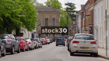 Church Street In Warwick, Wide Shot Followed By Close Up Of Road Sign, UK
