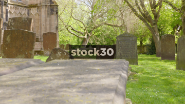 Slow Zoom Into Old Grave Stone At St Mary's Church In Warwick, UK