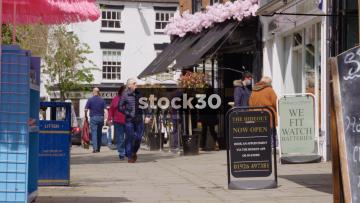 Slow Motion Shot Of Pedestrians At Market Place In Warwick, UK