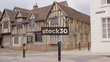 Panning Shot Of The Lord Leycester Hospital On High Street In Warwick, UK