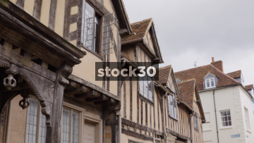 The Lord Leycester Hospital In Warwick, Two Panning Shots Of Woodwork Detail, UK