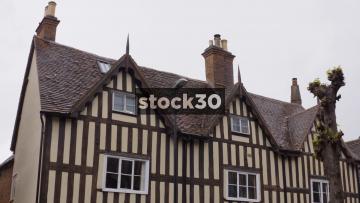 Tudor Building Opposite The Lord Leycester Hospital In Warwick, UK
