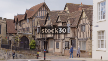 Wide Shot Of The Lord Leycester Hospital In Warwick, UK