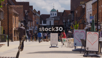 Henley Street In Stratford, Slow Zoom Out, UK