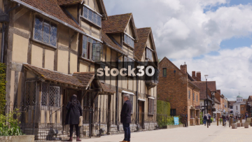 William Shakespeare's Birthplace In Stratford, Two Panning Shots, UK