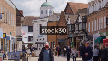 Henley Street Shopping Area In Stratford, Slow Zoom Out, UK