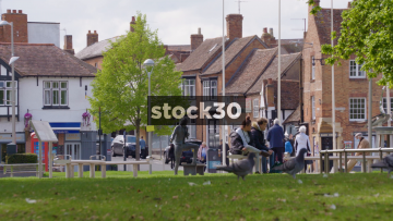 Wide Shot Of People And Birds Near Sheep Street In Stratford, UK