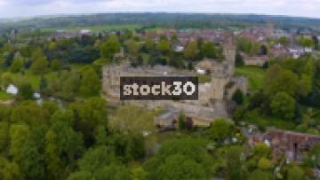 Wide Drone Shot Rotating Clockwise Around Warwick Castle, UK