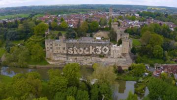 Fast Moving Drone Shot Rotating Anticlockwise Around Warwick Castle, UK