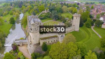 Drone Shot Rotating Clockwise Around Warwick Castle, UK