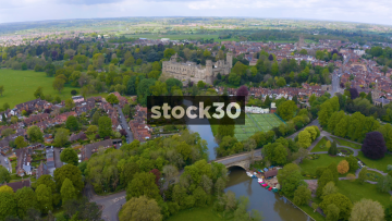 Drone Shot Flying Towards And Over Warwick Castle, UK