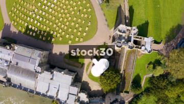 Rotating Overhead drone shot of Warwick Castle, UK