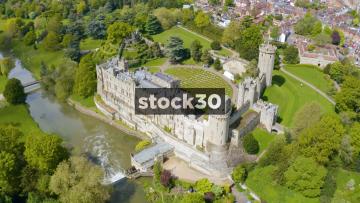 Close Up Drone Shot Rotating Anticlockwise Around Warwick Castle, UK