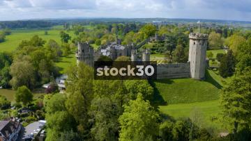 Close Up Drone Shot Rotating Clockwise Around Warwick Castle, UK