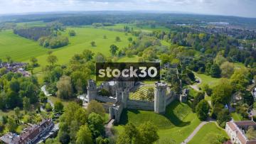 High Drone Shot Flying Over Warwick Castle, UK