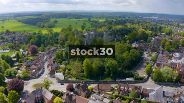 Drone Shot Flying Quickly Towards Warwick Castle, UK