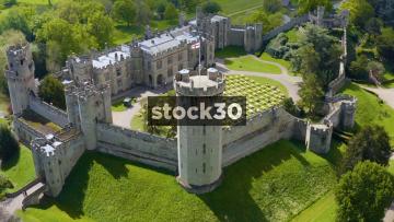 Very Close Up Drone Shot Rotating Anticlockwise Around Warwick Castle, UK