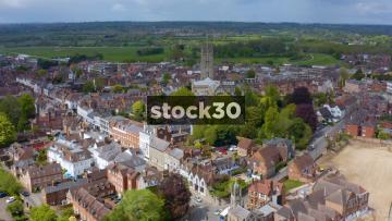 Drone Shot Flying Backwards Over Warwick Including St Nicholas Church, UK