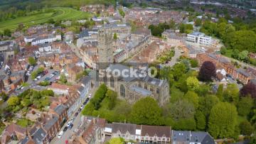 Drone Shot Rotating Anticlockwise Around St Mary's Church In Warwick, UK