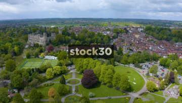 Drone Shot Flying Over Warwick Castle And Houses, UK