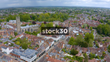 Drone Shot Moving Sideways Over Warwick, Including St Mary's Church, UK