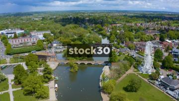 Drone Shot Moving Backwards Over The River Avon In Stratford, UK