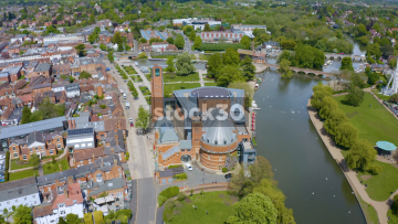 Drone Shot Rotating Anticlockwise Around The Royal Shakespeare Company Theatre In Stratford, UK