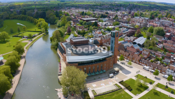 Drone Shot Rotating Anticlockwise Around The Royal Shakespeare Company Theatre And River Avon In Stratford, UK