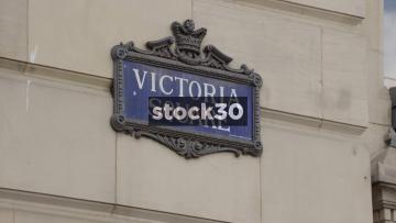 Victoria Square Birmingham Sign And Flag, UK