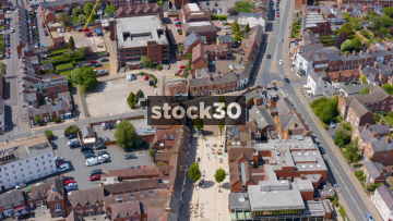 Drone Shot Moving Quickly Over Stratford Town Centre, UK