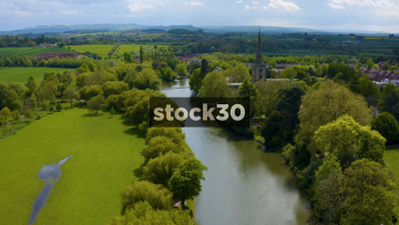 Drone Shot Flying Over The River Avon In Stratford, UK