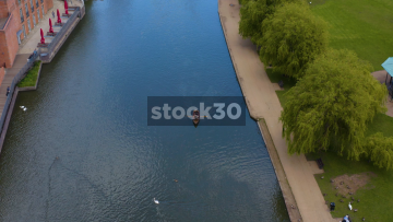 Drone Shot Of Rowing Boat On The River Avon In Stratford, UK