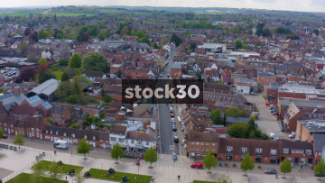 Drone Shot Of High Street And Houses In Stratford, UK
