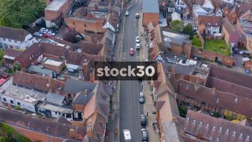 Drone Shot Moving Backwards Over High Street In Stratford, UK