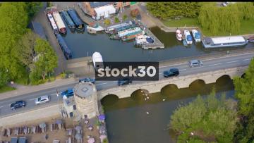 Drone Shot Of Road Bridge Over The River Avon In Stratford, UK