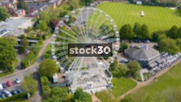 Drone Shot Rotating Anticlockwise Around Ferris Wheel In Stratford, UK
