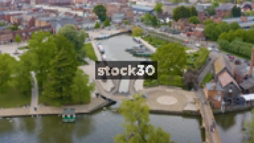 Drone Shot Of Canal Area In Stratford, UK