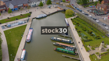 Drone Shot Moving Backwards Over Canal Area In Stratford, UK
